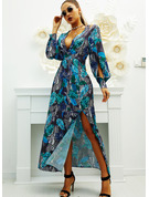Print A-line Long Sleeves Maxi Party Skater Dresses