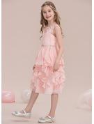 A-Line/Princess Scoop Neck Knee-Length Chiffon Junior Bridesmaid Dress With Beading Sequins Cascading Ruffles