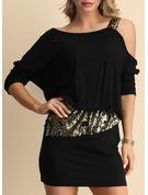 Paljetter Solid Åtsittande Långa ärmar Mini Den lilla svarta Party Sexig Modeklänningar
