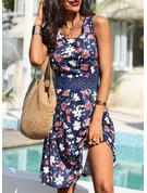 Blommig Spets Print A-linjeklänning Ärmlös Midi Fritids skater Modeklänningar