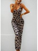 Leopard Print Åtsittande Ärmlös Midi Party Sexig Typ Modeklänningar