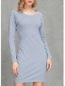 Solid Sheath Long Sleeves Mini Casual Dresses