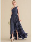 A-Line One-Shoulder Asymmetrical Chiffon Evening Dress With Cascading Ruffles