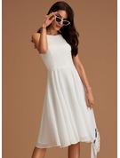 A-Linien-Kleid Rundhalsausschnitt Ärmellos Midi Romantisch Modekleider