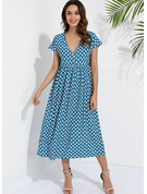Print Shift Short Sleeves Midi Casual Tunic Dresses