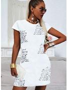 Stampa Lettera Abiti dritti Maniche corte Mini Casuale Reggiseno Tshirt Vestiti di moda