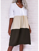 Color Block Skiftekjoler 3/4 ærmer Midi Casual Tunika Mode kjoler