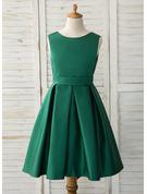 A-Line Asymmetrical Flower Girl Dress - Satin Sleeveless Scoop Neck With Bow(s)