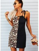 leopardo Blocchi di colore A trapezio Senza maniche Mini Casuale Tipo Vestiti di moda