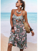 Blomstrete Trykk A-line kjole Ermeløs Midi Avslappet skater Typen Motekjoler
