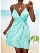 Kwiatowy Koronka Nadruk Bez pleców Sukienka Trapezowa Bez Rękawów Mini Nieformalny Wakacyjna Łyżwiaż Rodzaj Modne Suknie