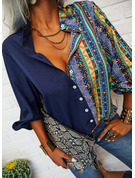 Print Striped V-Neck 3/4 Sleeves Button Up Casual Shirt Blouses