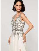 A-Linie V-Ausschnitt Bodenlang Tüll Brautkleid mit Perlstickerei Schlitz Vorn