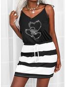 Trozos de color Impresión raya Corazón Cubierta Sin mangas Mini Casual Tipo Vestidos de moda