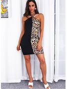 Leopardo Cubierta Sin mangas Mini Casual Vestidos de moda