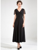 A-Line V-neck Tea-Length Tulle Jersey Mother of the Bride Dress With Ruffle Beading
