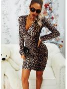 Leopard Bodycon Long Sleeves Mini Sexy Dresses