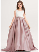 Ball-Gown/Princess Scoop Neck Sweep Train Satin Junior Bridesmaid Dress With Bow(s) Pockets