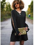 Sólido Con cuentas Vestidos sueltos Manga Larga Midi Pequeños Negros Elegante Túnica Vestidos de moda