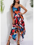 Geometrischer Druck A-Linien-Kleid Ärmellos Midi Lässige Kleidung Urlaub Skater Modekleider