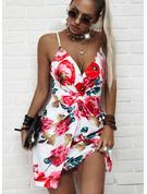 Floral Print Bodycon Sleeveless Mini Sexy Type Dresses