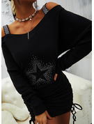 Print Bodycon Long Sleeves Mini Casual Sweatshirt Dresses