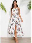 Kwiatowy Nadruk Sukienka Trapezowa Bez Rękawów Maxi Impreza Seksowny Łyżwiaż Modne Suknie