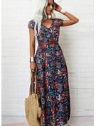 Druck A-Linien-Kleid Kurze Ärmel Maxi Boho Lässige Kleidung Urlaub Skater Modekleider