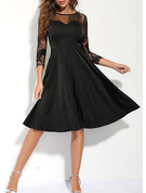 Lace Solid A-line 3/4 Sleeves Midi Little Black Casual Skater Dresses