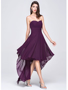A-Line Sweetheart Asymmetrical Chiffon Evening Dress
