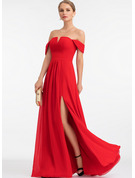 A-Line Off-the-Shoulder Floor-Length Chiffon Bridesmaid Dress With Split Front