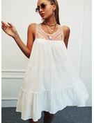 Sólido Agujereado Vestidos sueltos Sin mangas Mini Casual Vestidos de moda