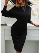 Kiinteä Ihonmyötäinen mekko Lyhtyhiha Pitkät hihat Midi Pikkumustat Tyylikäs Kynä Muodikkaat mekot
