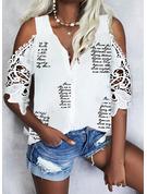 Impresión Carta Top Con Hombros Mangas 1/2 Casual Camisas Blusas
