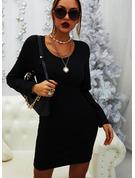 Couleur Unie Moulante Manches Longues Mini Petites Robes Noires Décontractée Robes tendance
