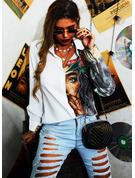 Stampa Risvolto Maniche lunghe Bottone Shirt and Blouses