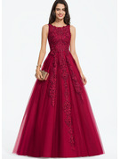 Ball-Gown/Princess Scoop Neck Sweep Train Tulle Prom Dresses With Beading