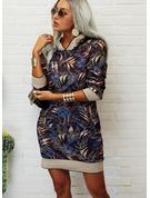 Druck Etuikleider Lange Ärmel Midi Lässige Kleidung Pullover Modekleider