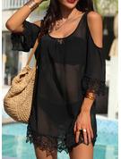Dentelle Couleur Unie Coupe droite Manches 3/4 Épaule Froide Mini Petites Robes Noires Décontractée Vacances Tunique Robes tendance