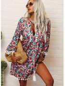 Print Shift 3/4 Sleeves Flare Sleeve Mini Casual Vacation Tunic Dresses