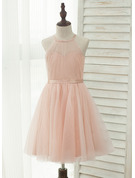 A-Line/Princess Knee-length Flower Girl Dress - Tulle/Charmeuse Sleeveless Halter With Back Hole