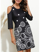 Print Sheath Cold Shoulder Sleeve Mini Casual Dresses