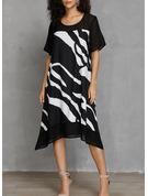 Print Shift Short Sleeves Midi Casual T-shirt Dresses