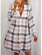 Kostkovaný Šaty Shift Dlouhé rukávy Mini Neformální Tunika Módní šaty