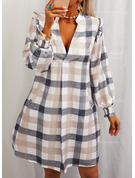 Plaid Shift Long Sleeves Mini Casual Tunic Dresses