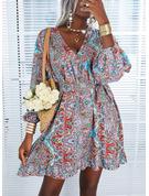 Print A-linjeklänning Långa ärmar Midi Fritids Semester skater Modeklänningar