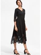 Blonder Solid Kjole med A-linje 3/4 ærmer Midi Den lille sorte Elegant skater Mode kjoler