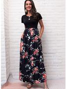 Blomster Print Kjole med A-linje Korte ærmer Maxi Casual skater Mode kjoler