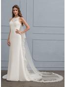 Sheath/Column Scoop Neck Sweep Train Chiffon Wedding Dress