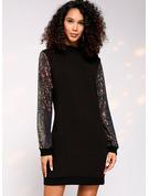 Paljetter Shiftklänningar Långa ärmar Midi Fritids Tunika Modeklänningar
